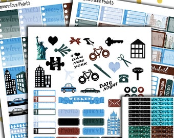 50%off NEW YORK deluxe  PRINTABLE Planner Stickers | Instant Download | Pdf and Jpg Format