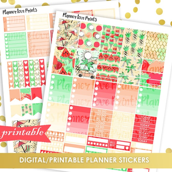 photo about Printable Paradise called 50%off PRINTABLE PARADISE Planner Stickers Fast Down load Pdf and Jpg Structure