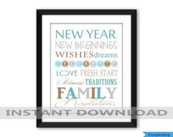 new year subway art word art holiday subway art digital file jpeg printable file