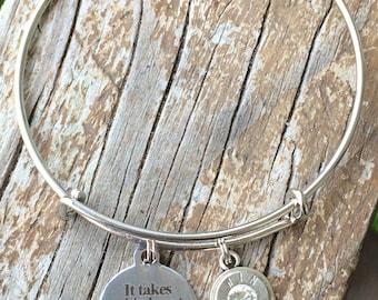 It takes big hearts to teach little minds bracelet