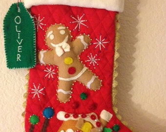 Christmas Stocking: Ginger Bread Man and House