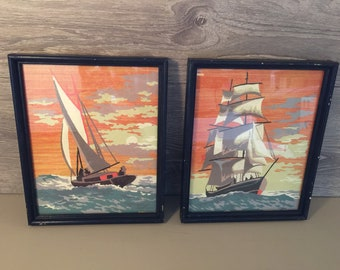 Vintage Pair of Sailing Paint By Numbers