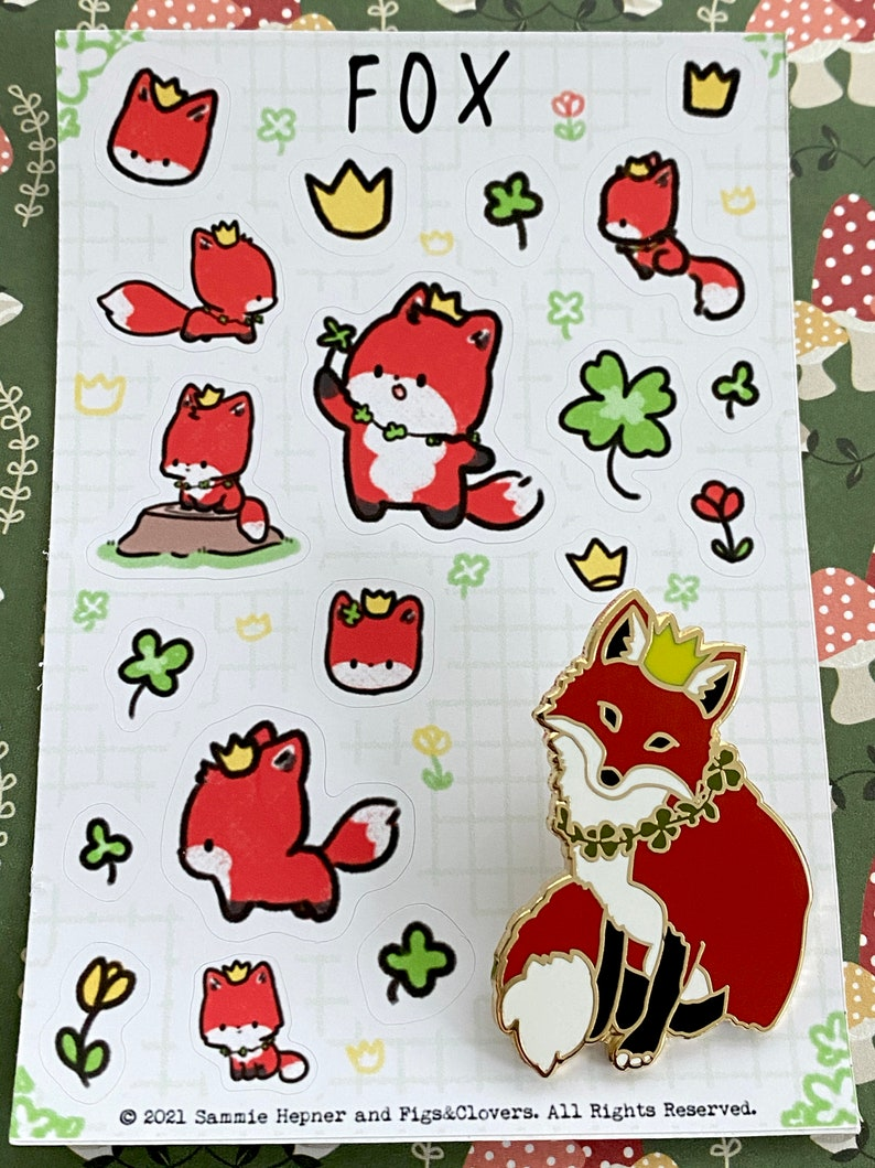 Cute Fox Enamel Pin Fox Stickers Fox Pin Red Fox Enamel Pin With Cute Fox Stickers Cute Fox Pin Cute Vinyl Fox Stickers