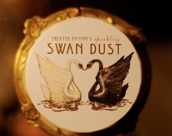new! shimmering SWAN DUST Perfume Powder ~ Angelica, Lavender, Frankincense, Bitter Red Orange,