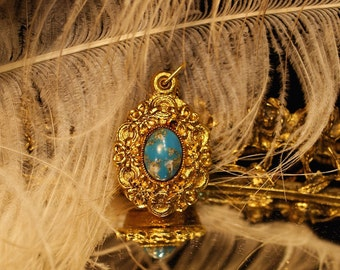 Vintage Perfume Locket - Natural Solid Perfume - Blue Gold Cachabon  necklace - Perfume by Theater POtion