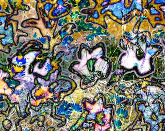Flower abstract Print Decorative contemporary wall art Custom Original Collage home decor pigment print Wildflower Blues Pinks Gold Chaos II