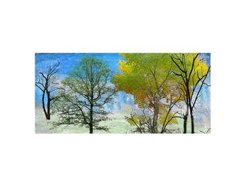 Landscape tree Print Decorative art Custom Home decor Abstract Wall art Contemporary Affordable  horizontal Winter Early Spring landscape