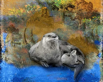 Animal River Otter GALLERY WRAPPED CANVAS Wall art Home decor square Decorative Contemporary Rustic  River Otter with Kit ready to hang