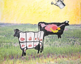 Farm Cow GALLERY WRAPPED CANVAS Wall art Home decor square Decorative Contemporary Rustic Anatomical Cow and Bull on field ready to hang