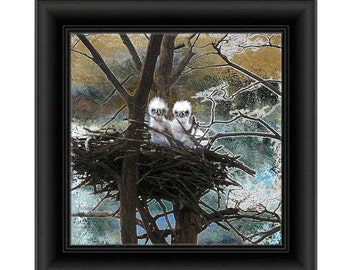 Bird Bald Eagle GALLERY WRAPPED CANVAS Wall art Home decor square Decorative Contemporary Rustic  Eaglets nest ready to hang