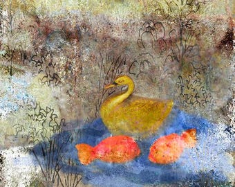 Bird Swan GALLERY WRAPPED CANVASWall art Home decor square Decorative Contemporary Rustic Swan and Goldfish in garden ready to hang