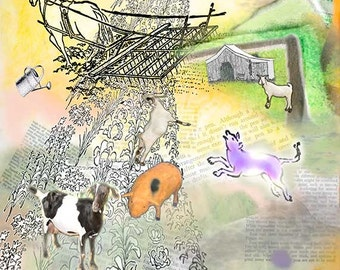 Garden art rural print Animals  home decor wall art Decorative art Contemporary Collage  rural print  affordable  small to large kitchen