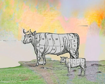 Cow Art rustic print wallart Original Collage Custom color home decor humorous  kitchen Decorative rural print  affordable  small to large