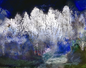 Grove of white flowering trees afternoon Print ART PAPER Decorative Home decor Wall art Contemporary Abstract Mixed Media horizontal Collage