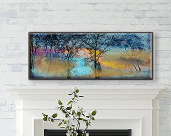 Landscape Tree art FINE ART PRINT Decorative Home decor Abstract Wall art Contemporary Affordable  horizontal Winter Landscape with Fire