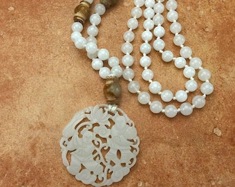 Mala Style Necklace: White Jade with Carved Jade pendant--handknotted