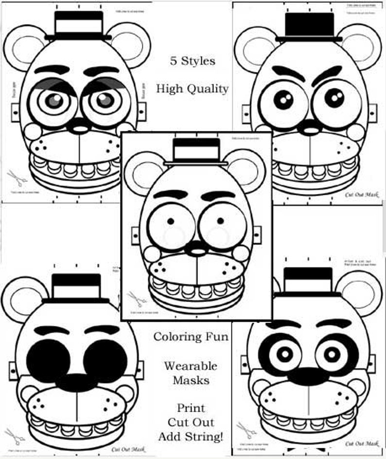 graphic relating to Five Nights at Freddy's Printable Mask named 5, Masks, FNAF, Coloring Internet pages, Occasion Favors, Birthday, Events, Halloween, Enjoyment, Large High quality, 8\