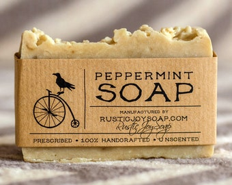 Peppermint Soap Rustic Soap Natural Soap gift for him gift for her mint favors homemade mint scent soap vegan soap artisan soap acne soap