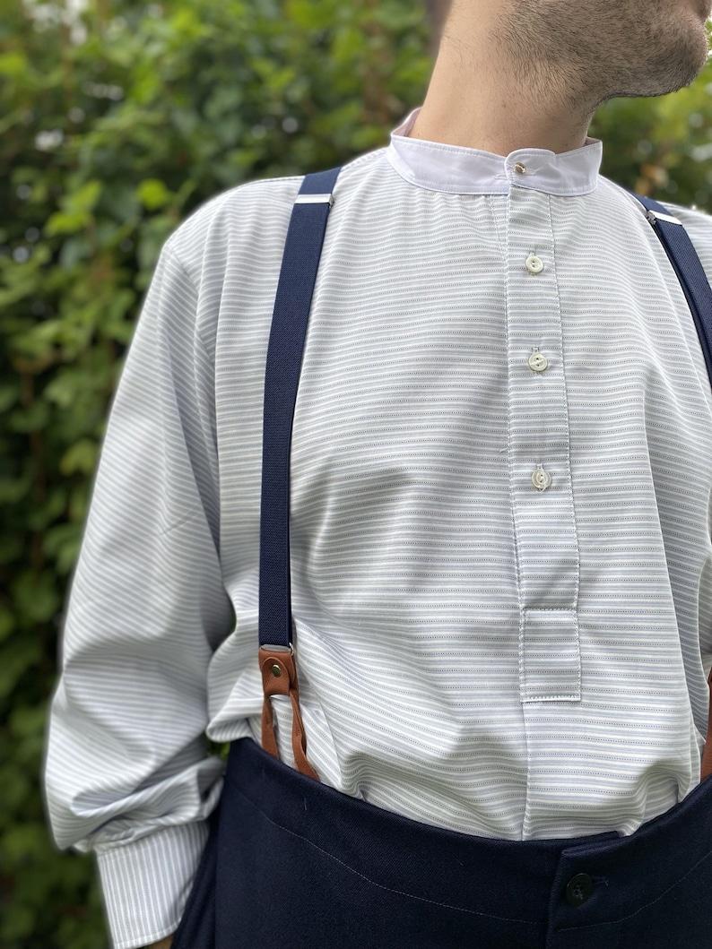Men's Steampunk Costume Essentials     Collarless shirt in grey horizontal stripe cotton with white neckband fastened with vintage collar stud $71.64 AT vintagedancer.com