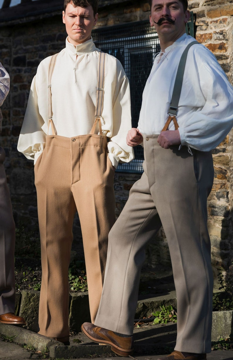 1920s Men's Pants History: Oxford Bags, Plus Four Knickers, Overalls Mens high waist trousers in heavy wool cavalry twill with button fly and brace buttons - sand shade $120.82 AT vintagedancer.com