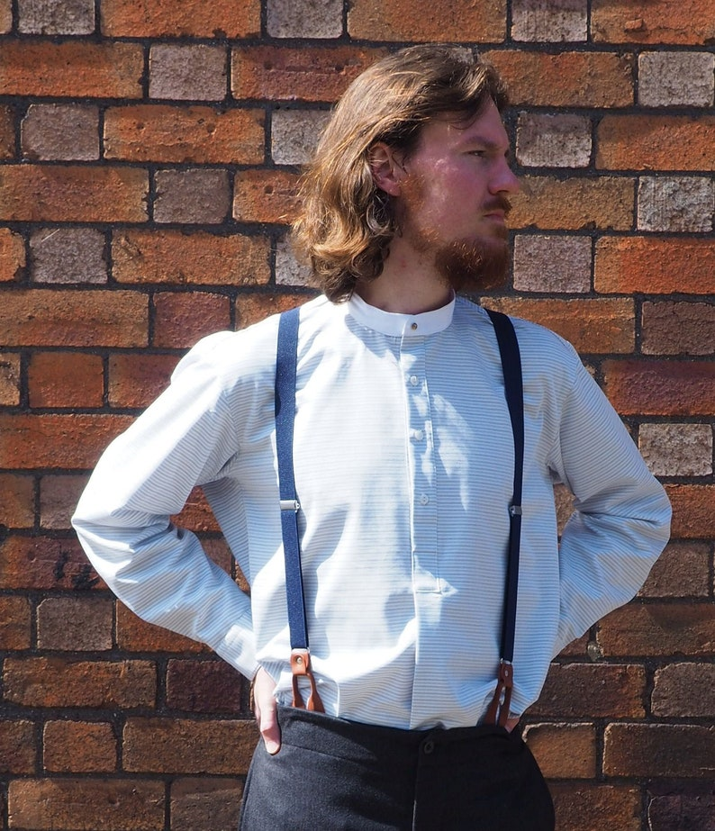 1920s Men's Shirts and Collars History Collarless shirt in grey horizontal stripe cotton with white neckband fastened with vintage collar stud $71.07 AT vintagedancer.com