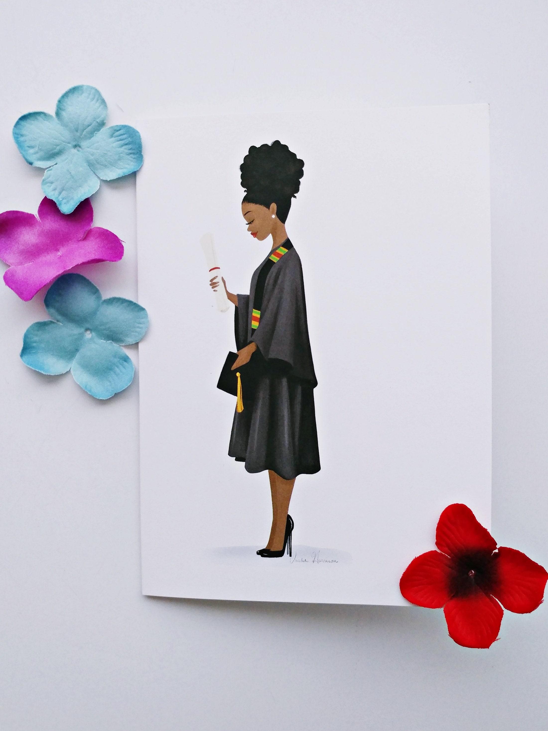 Diy Framable Blank Afro Bun African American Graduate Black Greeting