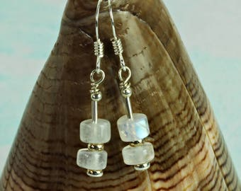Rainbow moonstone earrings. June Birthstones. Wedding Anniversary Gift for Women. Moonstone Jewellery For Her. 13th Anniversary. A0510