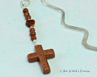 Crucifix. Bookmark. Confirmation Gift. Bible. Bookish. Goldstone. Cross. Spiritual. Gift for Women. Bookworm Gifts. Beaded. Metal Book Mark.