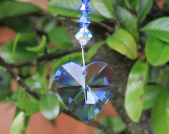 September Birthstone. Swarovski Crystal Heart Suncatcher. Sapphire Anniversary Gifts. Hanging Crystal Prism. Sun Catcher. 45th Wedding