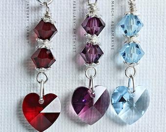 Crystal Heart Birthstone Sets,  Swarovski Earrings Pendant, Jewellery Set Gift For Women, January 2 December Birthstones, September Birthday