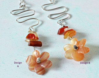 Carnelian Wire Work Necklace.  Necklace Gifts For Her. Carnelian Flower Necklace. Sterling Silver. Gemstone Jewellery