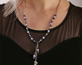Gemstone Necklace For Women with Sodalite and Blue Lace Agate | Bali Sterling Silver Necklace with Leaf Dangle | Wife gift ideas | A0117
