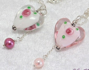 Romantic Heart necklace. Granddaughter Gift. Drop Necklaces For Women. Necklace Christmas Gifts for Girlfriend. Glass Pendant. Pearl