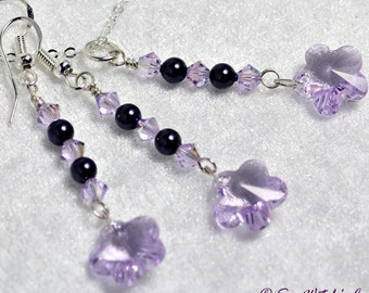 Crystal Drop Jewellery Set with Flowers and Pearls | Swarovski Earring and Necklace Set | Bridesmaids Bridal | Floral Jewellery Set | A0416