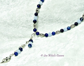 Gemstone Necklace For Women with Sodalite and Blue Lace Agate   Bali Sterling Silver Necklace with Leaf Dangle   Wife gift ideas   A0117