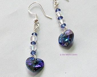 Swarovski Crystal Heart Earrings   Girlfriend Earring Gift Idea   Dangly earrings   Romantic Earrings   Heliotrope Heart Crystal Prism A0470