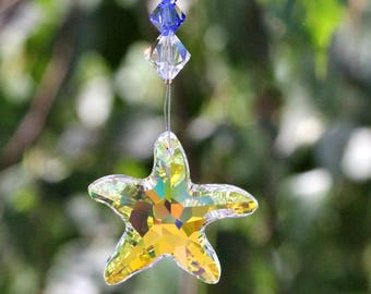 Housewarming Present. Starfish Sun Catcher. Swarovski Crystal Suncatchers for Windows. Hanging Crystal Prisms. Feng Shui Gifts.  A100-101