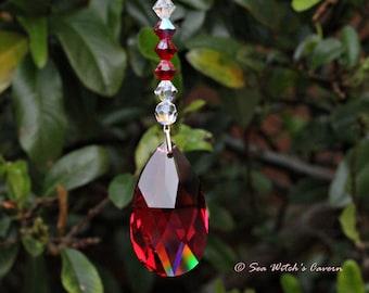 Ruby Wedding 40th Anniversary Gift.  Crystal Sun Catcher. July Birthstone. Swarovski Suncatcher with Ruby Teardrop. Rainbow Prism. A0499