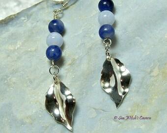 Gemstone Drop Earrings   Sodalite Earrings with Blue Lace Agate   Mum Earring Gift   Long Dangly Silver Leaf Earrings   A0118