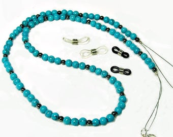 Dual Necklace Chain For Glasses with Turquoise and Hematite | Eyeglass chain | Reading Glasses | Librarian gift | December Birthstone |A0053