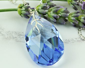 September Birthstone Necklace. Swarovski Pendant Necklace. 45th Wedding Anniversary Gift for Wife. Sapphire Teardrop Crystal Prism.