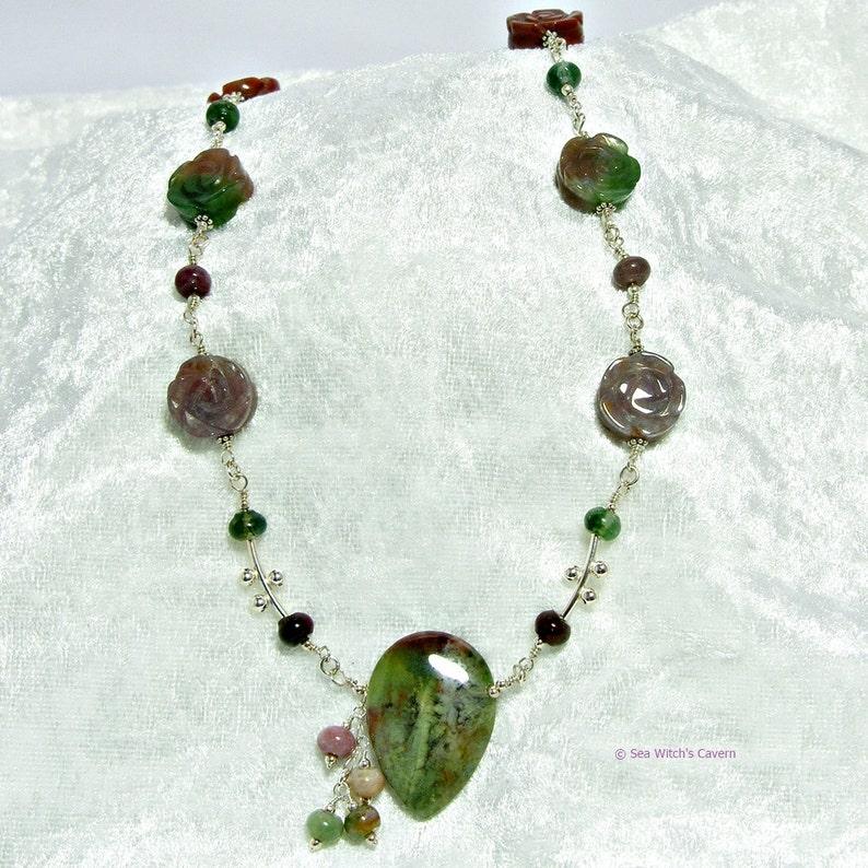 Flower Necklace  Gemstone Jewellery  India Agate Necklace  image 0