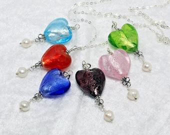 Delicate Heart Necklace. Romantic Necklaces For Women. Granddaughter Gift. Anniversary Gift Idea. Silver Foil Glass Pendant Pearl Drop.