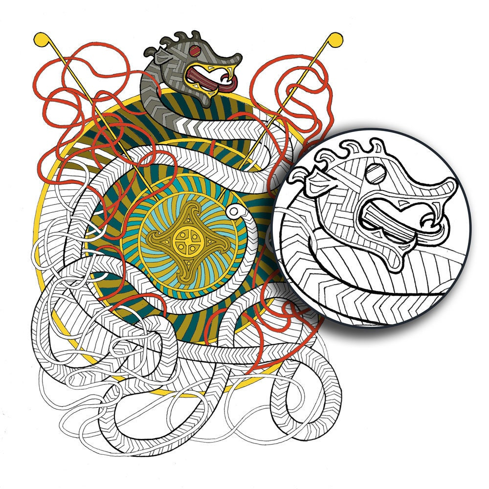 """Viking Dragon"" — Printable Adult Coloring Page PDF Digital Instant Download"