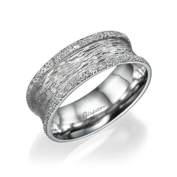 Wedding Bands Women White Gold Ring Unique Wedding Ring Etsy