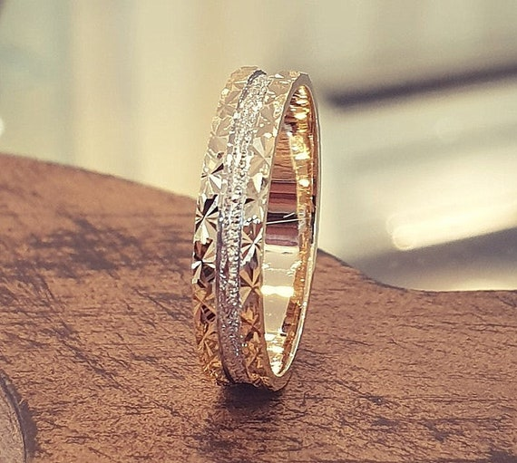 Bridal Jewelry Promise Ring Two Tone Wedding Band 14k Yellow/&White Gold Unique Wedding Ring