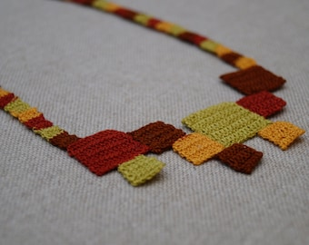 Geometric serie Necklace, squares necklace in autumn colors, fine handmade crochet Necklace, statement necklace, colorfull summer necklace