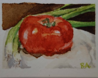 "Miniature Watercolor still life Tomatoes and green onion ""Salsa Hogao"""