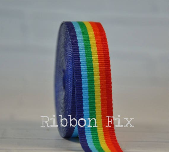 Single Face LGBT Rainbow Stripes Printed 3 Inch White Grosgrain Ribbon Gay Pride Cheer 5 Yards