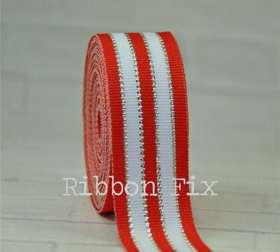 "5 yards 7//8/"" SMALL RED AND GREEN CHRISTMAS CANDY CANE GROSGRAIN RIBBON"